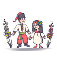 children in ukrainian costumes vector image