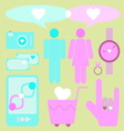 Create love and date items for lover vector image