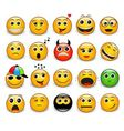 Set of bright yellow round emotions vector image