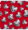 Shiny diamond hearts on dark red background vector image