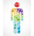 Social media man shape infographic vector image