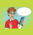 teenager talking on the phone joy vector image