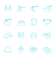 Thin lines icon set - Eastern food vector image
