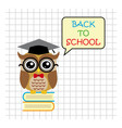 Cute owl teacher on squared background cartoon vector image