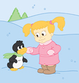 Girl and Her Friend Penguin vector image vector image
