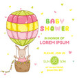 baby girl kangaroo with a balloon - baby shower vector image vector image