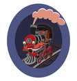 cartoon kids toy trains locomotive and wagons vector image