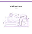 apartment move line vector image