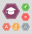 white science icons - molecule hat vector image