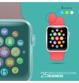 Smart watch with pink wristband vector image