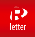 Abstract logo letter R on a red background vector image