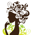 beautiful woman silhouette with flowers and bird vector image