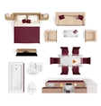 Interior Elements Top View Realistic Image vector image