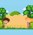 border template with boy and girl in park vector image