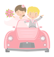 Bride and Groom in car vector image