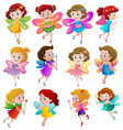 different characters of fairies flying vector image