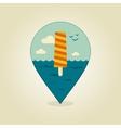 Ice Cream pin map icon Summer Beach Sun Sea vector image