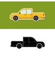 Pickup truck icon and silhouette vector image