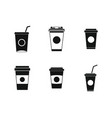 plastic cup icon set simple style vector image