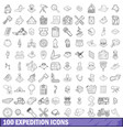 100 expedition icons set outline style vector image