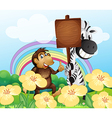 A monkey and a zebra at the garden with an empty vector image