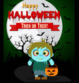 Halloween background with kids zombie vector image