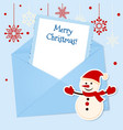 Christmas card with sticker snowman vector image
