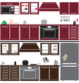 kitchen unit set with equipment eps10 vector image vector image