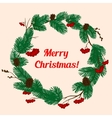 Christmas pine wreath with red berries and cones vector image