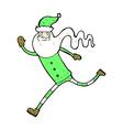 comic cartoon running santa vector image