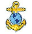 gold anchor an globe logo vector image