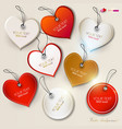 set of bubbles stickers labels tags shape of heart vector image vector image