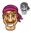 Cartoon pirate or sailor with red moustache vector image vector image