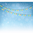 Christmas background with colorful garlands vector image