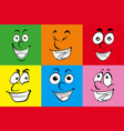 different human emotions on colorful background vector image