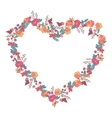 Floral heartshaped wreath made of wildflowers vector image