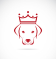image of a dog head wearing a crown vector image