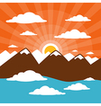 Nature Abstract Mountains with Clouds Sun Set - Ri vector image