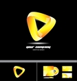 Orange yellow triangle corporate 3d logo design vector image