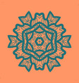 outlined print on orange color background mandala vector image