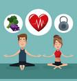 couple yoga exercise food healthy vector image