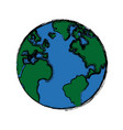 global world earth map round vector image