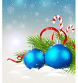 Christmas background with shining blue decorations vector image