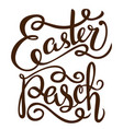 black ink hand drawn easter greeting card on white vector image