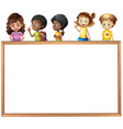 Children and board vector image