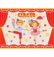 Circus vintage poster with two circus artists vector image