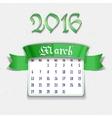 March 2016 calendar template vector image