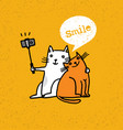 two cats making photo using selfie stick funny vector image