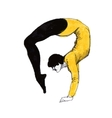 athlete doing gymnastic figure ink hand drawn vector image
