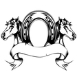heads horses and horse shoe vector image